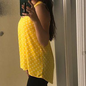 Pleione Yellow Polka Dot Sheer Sleeveless Blouse